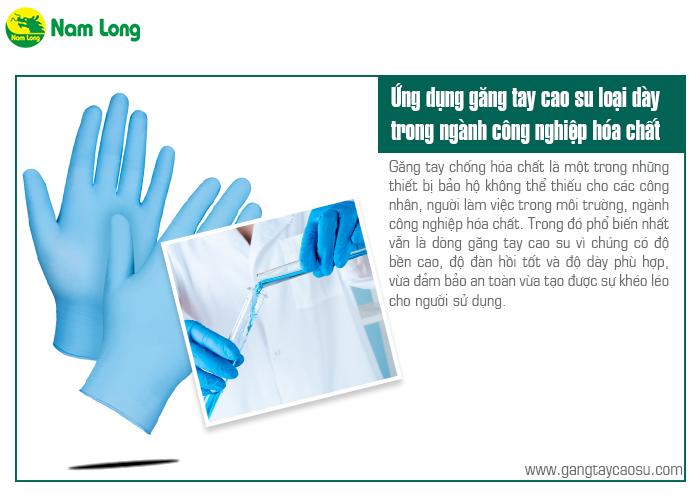 găng tay cao su loại dày trong ngành công nghiệp hóa chất