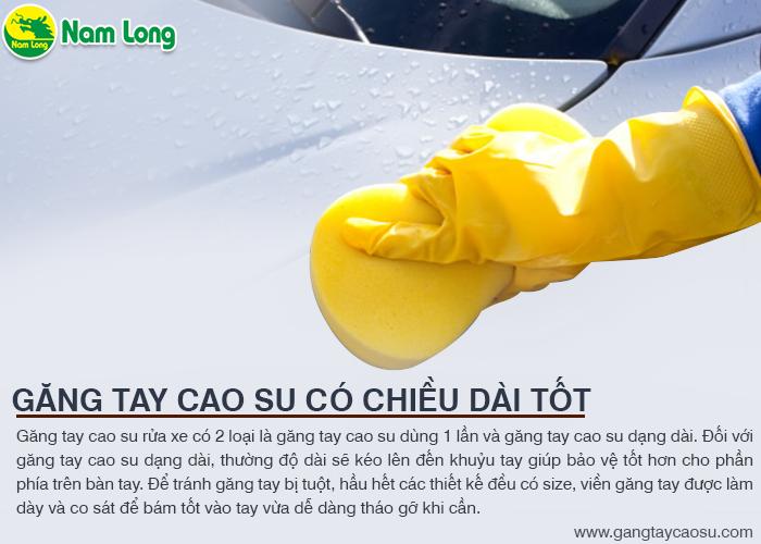 găng tay cao su rửa xe có chiều dài tốt