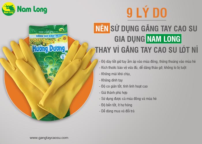 9 lý do bạn nên chọn găng tay cao su Nam Long thay cho găng tay cao su lót nỉ