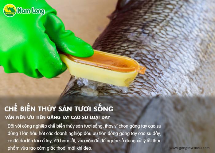 chế biến thủy sản vẫn nên ưu tiên dùng găng tay cao su loại dày